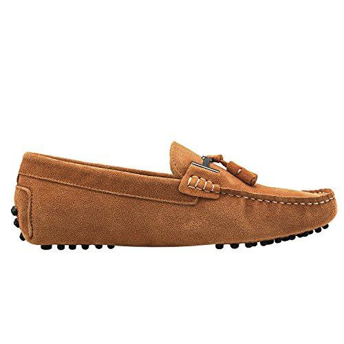 Shenduo Men's Tassel Loafers Suede Leather Moccasins Flat Boat Shoes Driving Slippers D7157 Khaki RyQatQK