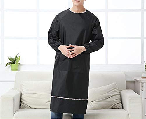 (Mens Long Sleeve aprons waterproof and oil proof smock overalls adult Home Furnishing kitchen (Black color))