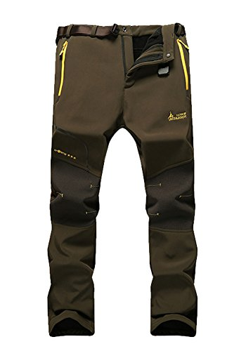 MorryOddy Men's Outdoor Waterproof Softshell Fleece Snow Pants Army Green 36