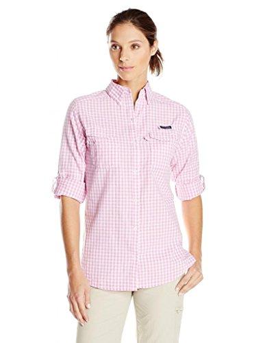 Columbia Women 100% Cotton Long Sleeve Bonehead II Fishing Hiking Work Shirt - Orchid Gingham (X-Small)