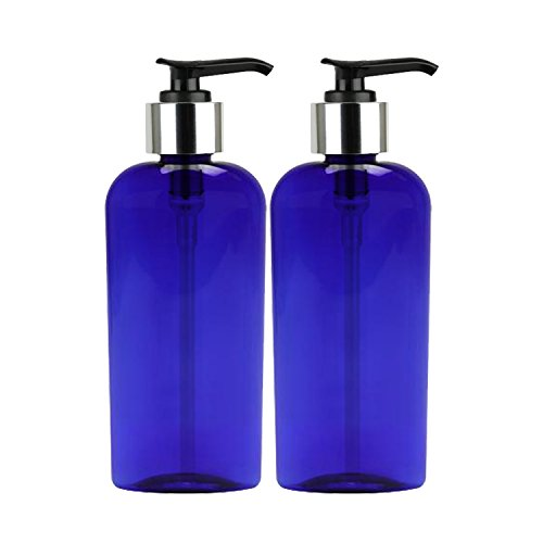 Moyo Natural Labs Oval Lotion bottle 8 oz Soap Dispensers with Beautiful Silver Tone Pump Soap Dispenser BPA Free Made in the USA Midnight Blue 2 Pack - Oval Spray Bottle