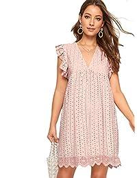 ROMWE Women's Short Sleeve Summer Lace Dress