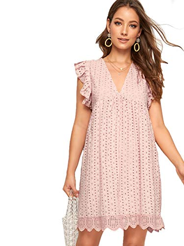 - Romwe Women's Solid Eyelet Embroidery Scallop Hem Cute Babydoll V Neck Ruffle Sleeveless A Line Short Dresses Pink_No Stretch Medium