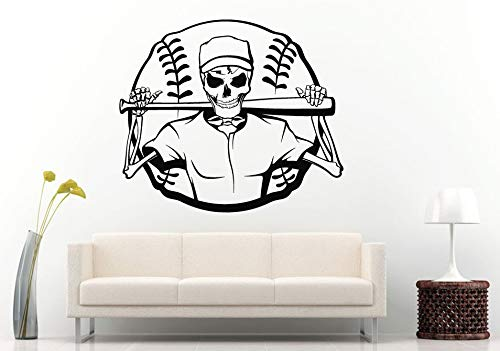 Cool Fashion Baseball with Skeleton Wall Decals Mural Home Boys Bedroom Creative Decor Wall Sticker Sport Series Wallpaper 57X63Cm