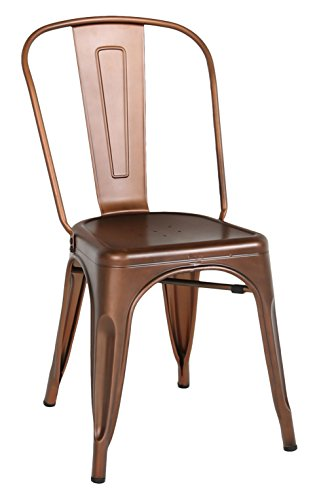 WE Furniture Stackable Metal Cafe Bistro Chair, Bronze