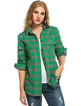 Zeagoo Women's Roll Up Sleeve Casual Loose Boyfriend Plaid Button Down Shirt (Small, Gray)