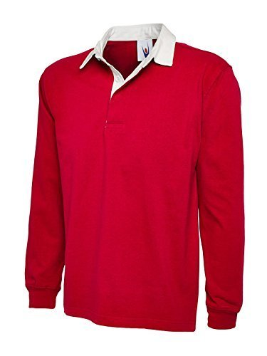 Uneek Clothing-Mens-Premium Rugby Shirt-330 gsm-Red-XL (330 Rugby)