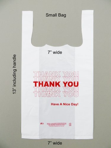 - Plastic Bag- Small Economy 'Thank You' White T Shirt Bag 7