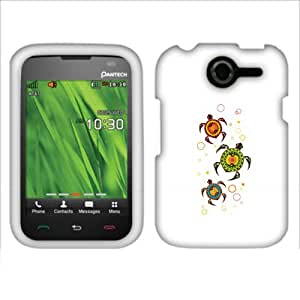 Fincibo (TM) Protector Cover Case Snap On Hard Plastic Front And Back For Pantech Renue P6030 - Brilliant Turtles
