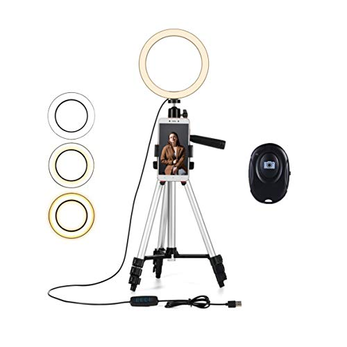 "NeeXiu 5.7"" Ring Light with Tripod Stand - Dimmable Selfie Ring Light LED Ringlight with Tripod and Phone Holder for Live Stream/YouTube Video, Compatible for iPhone Android, Remote(Upgraded)"