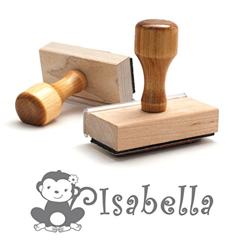 Personalized Kids Name Self Inking Stamp, Monkey, Custom Font, Customized with Name, Rubber Stamp, Naming Stamp, Children's Signature Stamper, Kids Stamp (Wooden Handle - Separate Ink Pad Required) by Pixie Perfect Stamps