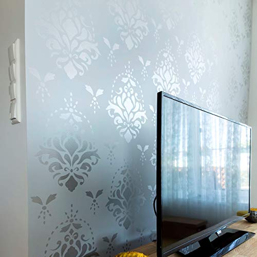 """Wall Stencil for Painting - XL Size 24""""x32"""" – Damask Accent Stencil ()"""