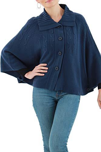 Anne Kriss Capa Corta para Mujer Invierno Cuello Camisa Botones Grandes en Tejido de Punto con Acabado Tipo Cashmere Color...