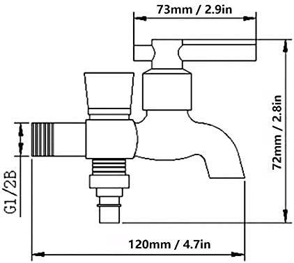 G1 / 2Inシングルコールドダブルヘッド蛇口デュアルユース蛇口、耐久性のある錆びにくい水蛇口洗濯機の蛇口、水栓、家庭用トイレのキッチンのバスルーム用