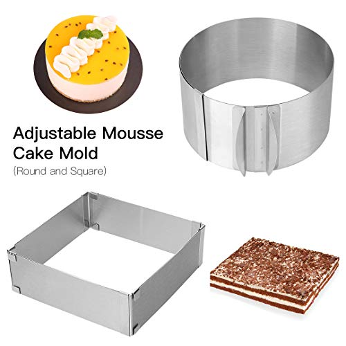Adjustable Cake Mold Ring 2-piece Set, 6-12 Inch Cake Mousse Ring Stainless Steel (Round+Square) (Cake Ring Mold)