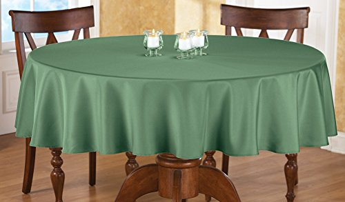 Basic Tablecloth (70 Inch Round Solid Colored Tablecloth, 100% Durable Polyester, Green)