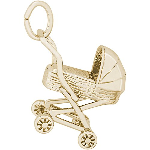 Rembrandt Charms 14K Yellow Gold Baby Carriage Charm (15.5 x 15 mm)
