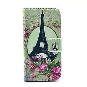 Caso de cuero de la torre Eiffel Rose Flower Pattern PU con ranura para tarjetas y soporte para Samsung Galaxy S4 Mini I9190