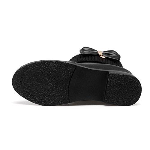 ... YE Damen Keilabsatz Ankle Boots Stiefeletten mit Schleife und Erhöhung  Süß Bequem Warm Schuhe Schwarz b348e8cdba