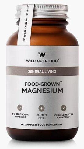 Wild Nutrition producción de alimentos Magnesio 60 Cápsulas Sin Gluten