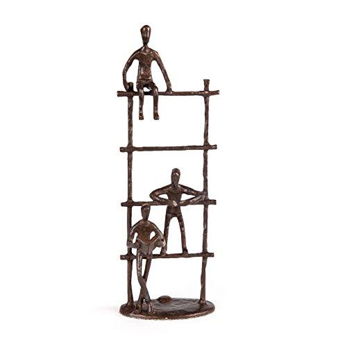 Danya B. ZD17143 Three Children on a Ladder Bronze Sculpture - Modern Metal Art Home Décor