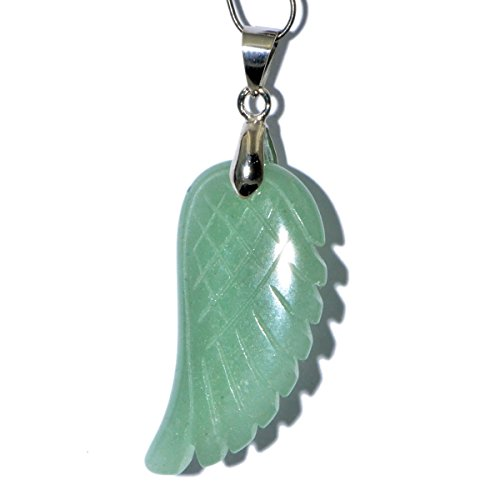 AD Beads 18x36mm Natural Gemstone Carved Angel Wing Reiki Chakra Healing Pendant Beads (22 Green Adventurine) ()