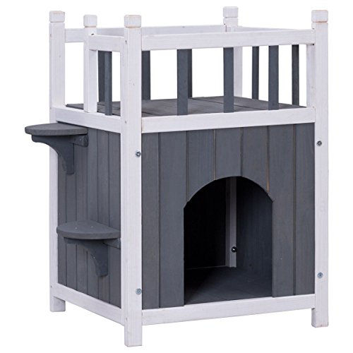 Gray fir wood Cat House With Ebook