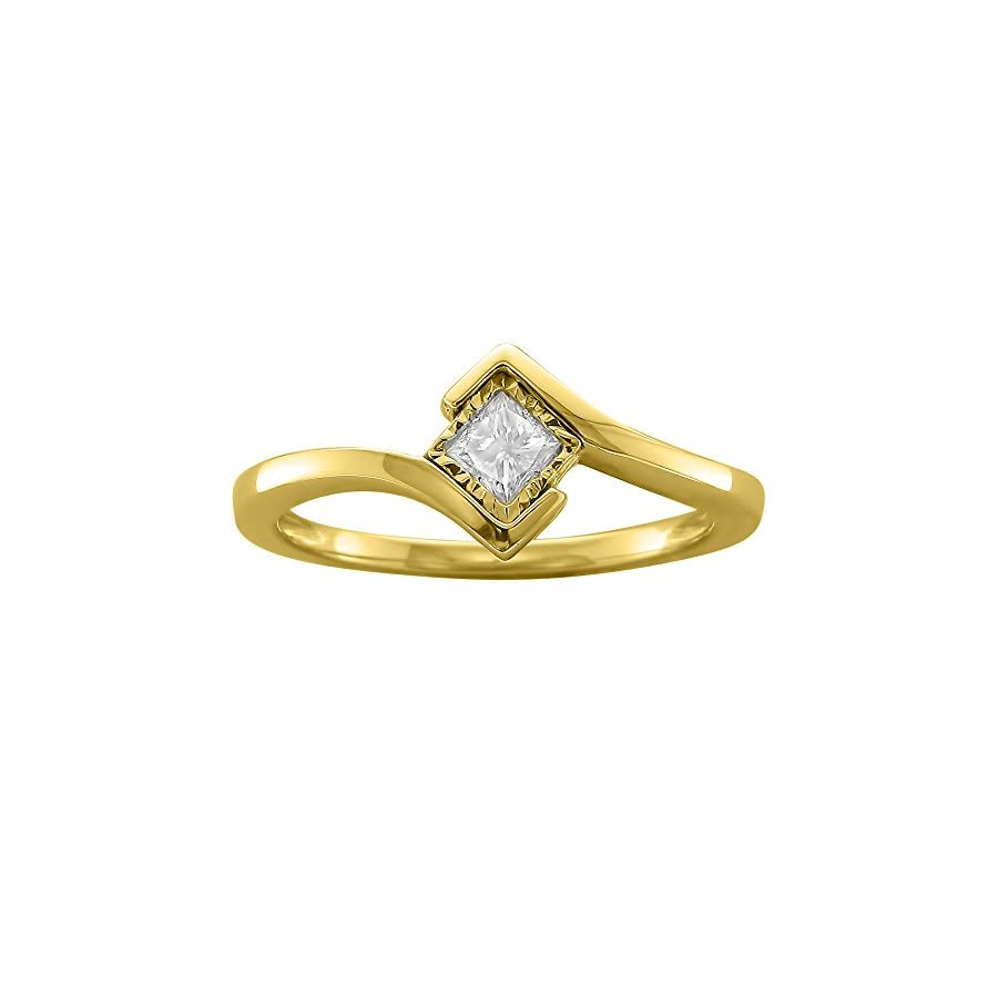 14k Yellow Gold Princess cut Solitaire Diamond Bezel Set Engagement Ring (1/5 cttw, I J, I1 I2)