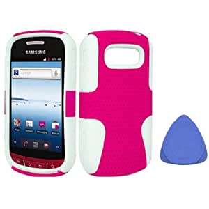 Mesh Hybrid Hard Case Gel Cover For Samsung Admire R720, White Hot Pink + Tool