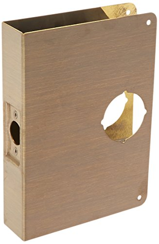 - Don-Jo 55-CW 22 Gauge Stainless Steel Mortise Lock Wrap-Around Plate, Blackened Satin Brass Plated, 6-1/2