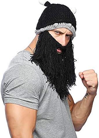 Winter Warm Handmade Knitted Beanie Crazy Ski Cap Long Beard Viking Horn Hat
