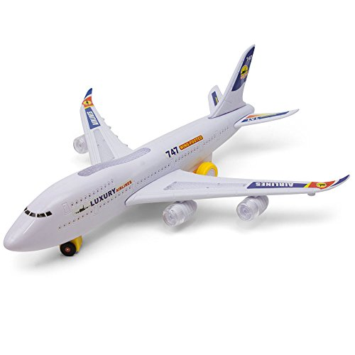Bump And Go 747 Kids Action Airplane - Plane With Attractive Lights And Sounds – Changes Direction On Contact – Best For Kids Age 3 And Up