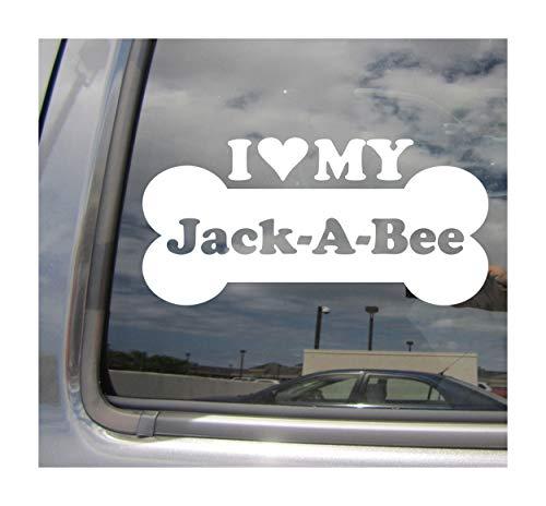 Jack Russell Beagle - I Heart Love My Jack-A-Bee - Dog Bone Beagle Jack Russell Terrier Designer Mixed Hybrid Breed Cars Trucks Moped Helmet Auto Automotive Craft Laptop Vinyl Decal Store Window Wall Sticker 13524