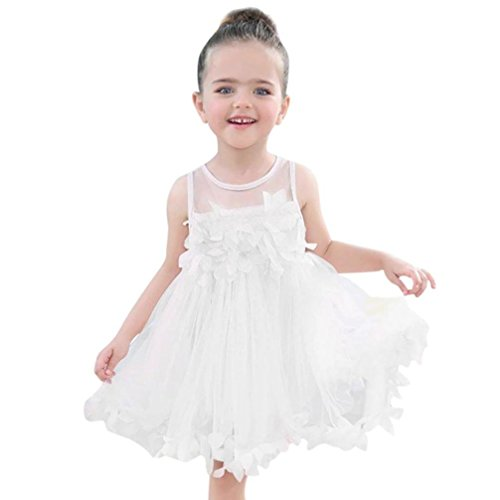 - Children Baby Girls Sleeveless Lace Floral Appliques Tutu Mesh Dresses Party Wedding Princess Dress (White, 6-12 Months)