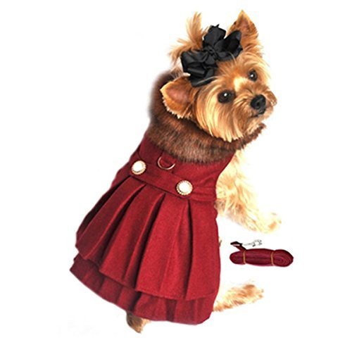 Doggie Design Burgundy Wool with Soft Plush Faux Fur Collar Harness Coat with Matching Leash Size Small (Chest 13-16