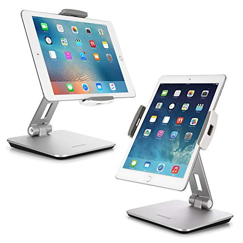 AboveTEK Professional Business POS Tablet Stand, Flexible Tablet Mount for Home Office & Commercial Desktop with 360° Swivel Holders for Any 4-14