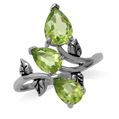 2.76ct. 3-Stone Natural Peridot 925 Sterling Silver Bypass Leaf Ring Size 9.5