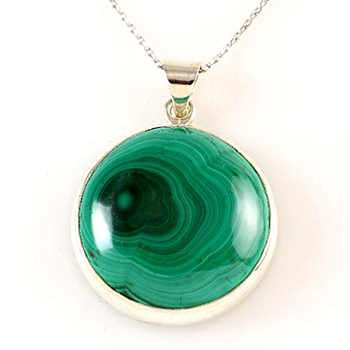 Sterling Silver Round Genuine Green Malachite Medallion Handmade Heart Chakra Pendant 18+2'' Chain