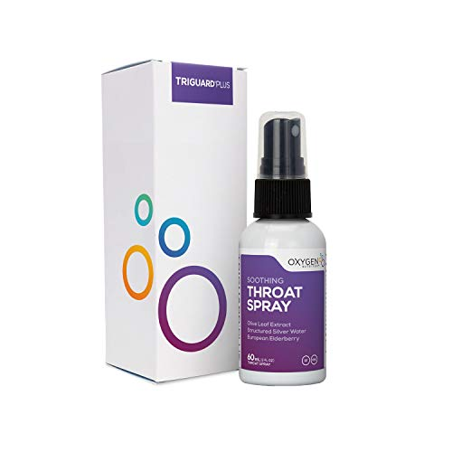 TriGuard Plus Throat Spray Oxygen Nutrition | 60mL Natural Throat Spray with a Proprietary Blend of Structured Silver Water & European Elderberry (Packaging May Vary)