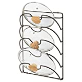 mDesign Metal Wire Pot and Pan Lid Rack Organizer for Kitchen Cabinet Doors