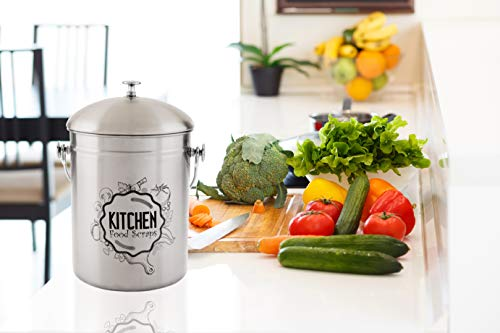 Kitchen Compost Bin Stainless Steel (Food Grade 410) Odorless Countertop Compost Pail -Bonus Charcoal Filters & Gardening Gloves. Insect-proof 1.3 Gallon bucket. Gift Boxed, and Gift Wrap available by Green Hills Health (Image #1)