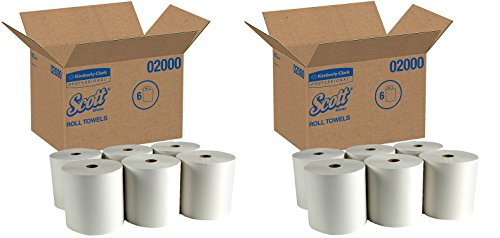 Scott 02000 Hard Roll Towels, 1.75'' Core, 8 x 950ft, 1 3/4'' Core, White (Case of 6 Rolls) (2 CASES) by Kimberly-Clark Professional
