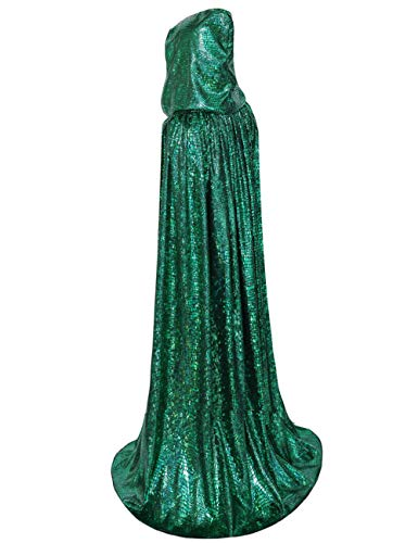 GRACIN Unisex Christmas Elf Costume Cloak, St Patrick's Adult Shiny Hooded Cape Mardi Gras Party (Large 59