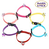 PetLoft Cat Collar with Bells, Breakaway Velvet Cat Collars for Most Sizes of Cats, Mixed Colors, Available in Set of 6