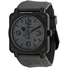 Bell and Ross Commando Grey Dial Grey Rubber Mens Watch R0392-COMMANDOCE