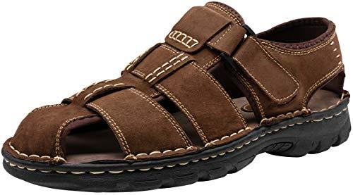 JOUSEN Men's Sandals Outdoor Sport Leather Fishermen Sandal Casual Closed Toe Beach Sandal (7,Dark Brown) ()