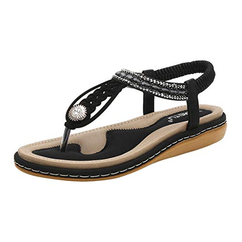 Flat Shoes for Women St.Dona Ladies Crystal Cross Strap Woven Elastic Band Ankle Toepost Flat Sandals Roman Simple Shoes Black