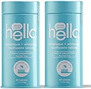 Hello Antiplaque + Whitening Toothpaste Tablets with Natural Peppermint, 2 Count (60 Tabs Total) | Fluoride Free, Travel Fri