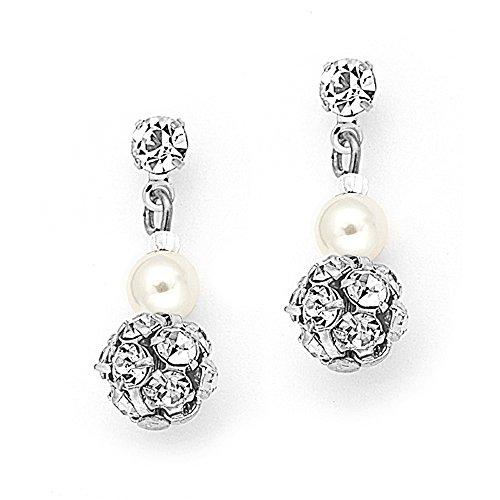 (Mariell Ivory Pearl Clip On Drop Wedding Earrings for Woman, Swarovski Crystal Rhinestone Bridal Jewelry)