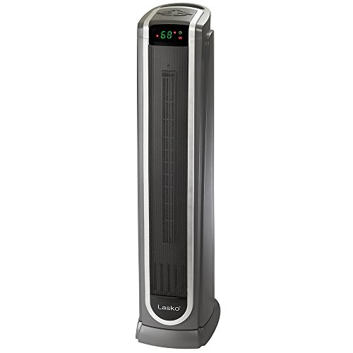Lasko 5572 Ceramic Tower Space Heater with Logic Center Digital Remote Control-Features Built-in Timer and Oscillation, 7.3?L x 9.2?W x 29.75?H